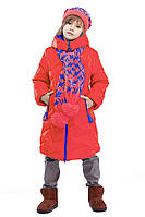 Яркое Зимнее  полупальто с шарфом в комплекте для девочек 116-158р