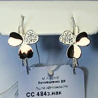 Серьги из серебра с золотыми накладками Клевер сс 484.1з.нак
