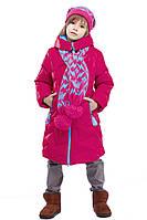 Стильное Зимнее  полупальто с шарфом в комплекте для девочек 116-158р