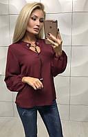 Женская однотонная рубашка со шнурком  ,блузка женская