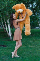 Плюшевая игрушка медведь, мишка 140 см, карамельный.