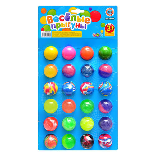 """Мячик-прыгун MS 0059 """"Весёлые прыгуны"""", 3,5 см, 24 шт. в упаковке (Y)"""