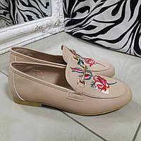 Женские туфли беж вышивка внутри кожа, фото 1