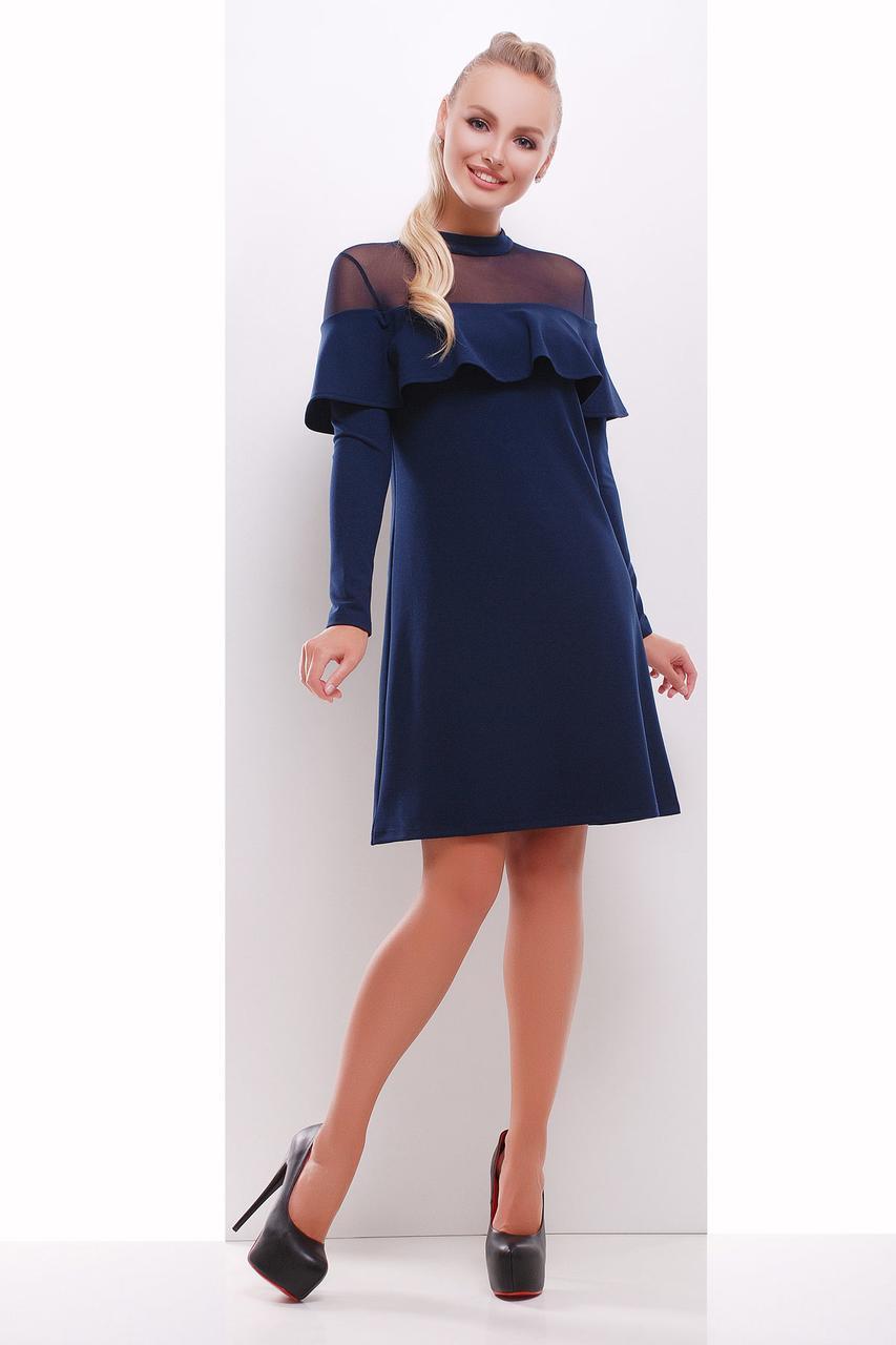Купить Синее женское платье с воланом на плечах 573969267 - Грация ... a9d62222816