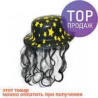 Шляпа Котелок Пластик с волосами / Карнавальные головные уборы
