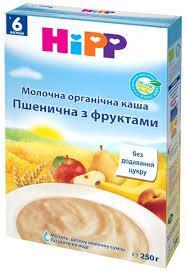 Hipp Молочна органічна каша «Пшенична з фруктами» 250