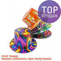 Шляпа Цилиндр пластик с принтом / Карнавальные головные уборы