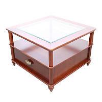 Стол деревянный с ящиком и стеклом