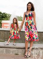 """Элегантное летнее женское платье 2-757 """"Коттон Цветы Акварель"""""""