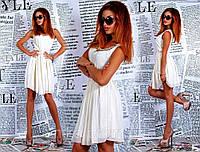 Короткое шифоновое платье с камнями, фото 1