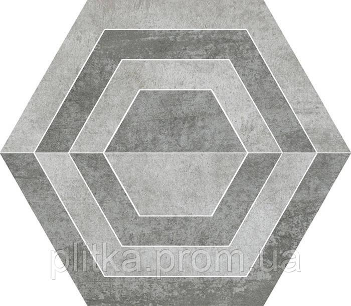 Плитка SCRATCH GRYS HEKSAGON A ДЕКОР 26х29,8