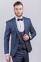 Стильный мужской пиджак в клетку AG-0003045 Серо-синий
