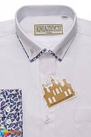 Школьная рубашка для мальчика Kniazhych Slim Виват, цвет белый с синим