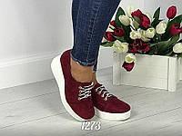 Женские туфли на танкетке Бордо