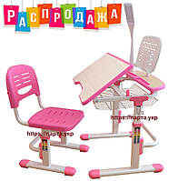 Детская парта, стульчик, лампа, подставка, (синий,розовый)