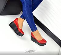 Женские кожаные туфли красного цвета на высокой платформе, 36-40р.