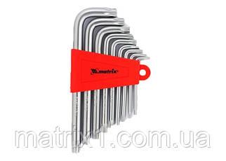 Набір ключів имбусовых TORX, 9 шт, T10x50, CrV, короткі, сатин-хром, MTX