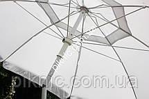Зонт пляжный Белый 2 м клапан и наклон плотная ткань тканевый чехол Зонтик для пляжа от солнца 352, фото 3