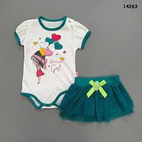 Боди и юбка для девочки. 62, 80 см