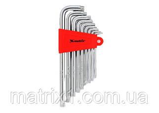 Набір ключів имбусовых TORX, 9 шт, T10x50, CrV, подовжені, сатин-хром, MTX