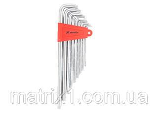 Набор ключей имбусовых TORX, 9 шт, T10x50, CrV, экстра длинные, сатин-хром, MTX