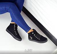 Женские демисезонные замшевые ботинки черного цвета на шнуровке, 36-40р.