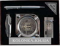 Подарочный набор Украина пепельница/нож/ручка/зажигалка 4В1 AL117