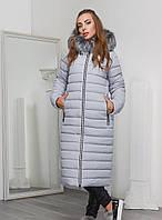 Теплая Зимняя Куртка Удлиненная с Капюшоном и Мехом Серая