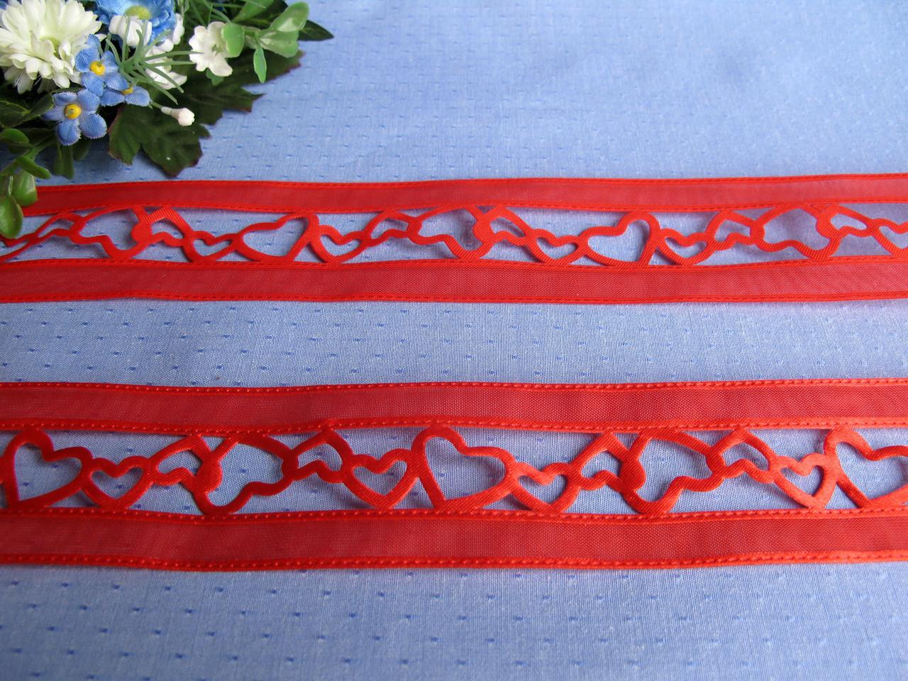 Лента ажурная красная 4 см цена за метр 12 грн метр