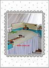 Детская сменная постель голубого цвета с вышивкой (жираф на прогулке), фото 3