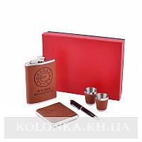 Подарочный набор с флягой для мужчин 4в1 Фляга,Рюмки,Портсигар,Ручка GT-019