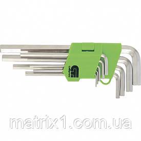 Набір ключів имбусовых Tamper-Torx, 9 шт: TTT10-T50, 45x, загартовані, подовжені, нікель. СибрТех