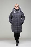 Пальто женское зимнее с мехом  М - 360 графит с мехом