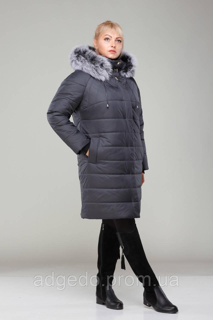 Пальто женское зимнее с мехом М - 360 графит с мехом  продажа 68d266ca49361