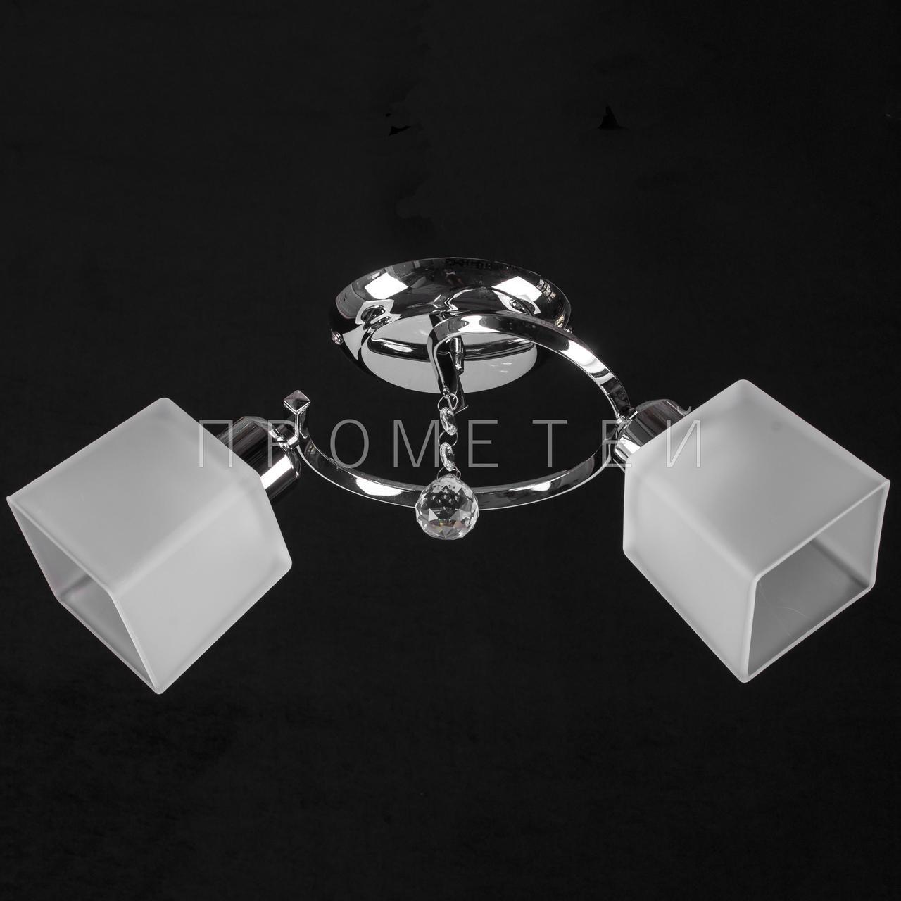 Люстра Припотолочная на дві лампочки (нікель)P3-7195/2C/CR+WT