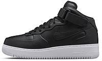 """Женские высокие кроссовки NikeLab Air Force 1 Mid """"Black"""" (Найк Аир Форс) черные"""
