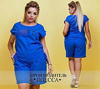 Костюм (бриджи+блуза)  №3412П (р-р.48,50,52,54). Ткань-лен натуральный. Цвета в ассортименте