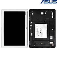Дисплейный модуль (дисплей + сенсор) для Asus ZenPad 10 Z300CG, с рамкой, белый, оригинал