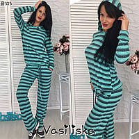 Костюм модный женский в силе пижама в полоску с капюшоном разные цвета DV620