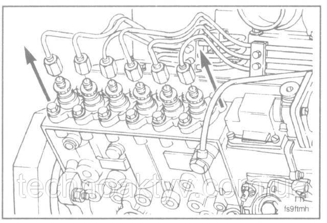 Ключ 19мм  Отсоедините топливопровод(ы) от топливного насоса.  ПРИМЕЧАНИЕ:Установите прижим в первоначальное положение и во избежание поломок от вибрации проверьте отсутствие перегибов и касаний топливопроводов друг с другом или другими деталями. Для того, чтобы предотвратить попадание грязи в систему, накройте форсунки и нагнетательные клапаны защитными колпачками.  Сборку выполняйте в обратном порядке.