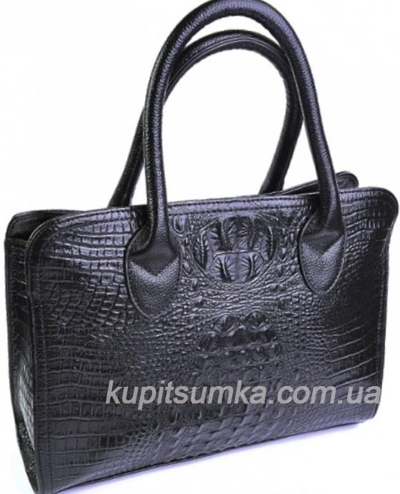 c76374508e2f Элегантная женская кожаная сумка чёрного цвета с тиснением под рептилию,  цена 1 180 грн., купить в Полтаве — Prom.ua (ID#574061455)