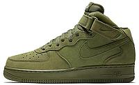 "Женские высокие кроссовки Nike Air Force 1 Mid ""Olive"" (Найк Аир Форс) хаки"