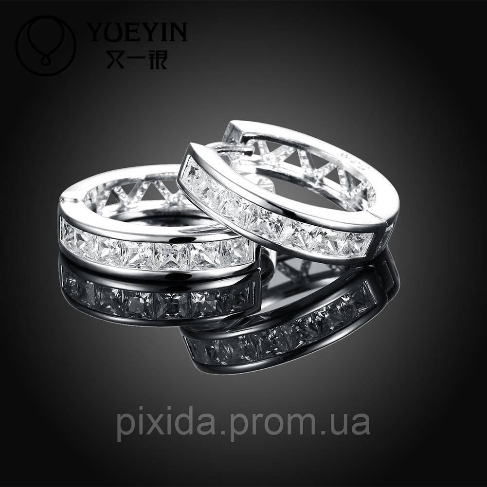 Сережки Резные колечки покрытие 925 серебро проба