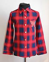 Рубашка для девочек красная в клетку от 5 до 12 лет