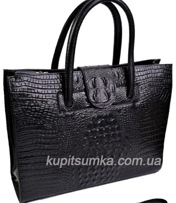 3fe9c84305cb Деловая женская кожаная сумка чёрного цвета с тиснением под рептилию , цена  1 180 грн., купить в Полтаве — Prom.ua (ID#574063298)