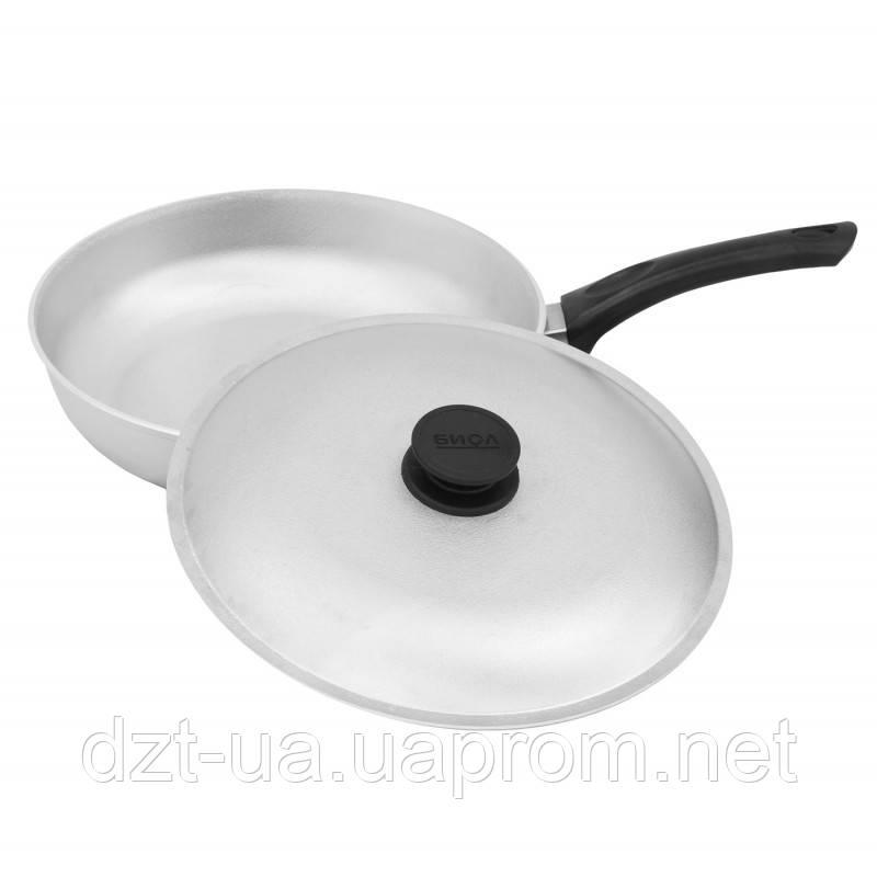 Сковорода с ровным дном и крышкой (240 мм)