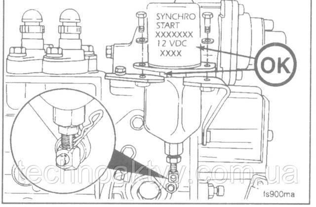 Ключ 10 мм  Снимите зажим присоединительного пальца, болты крепления и электромагнит отключения подачи топлива.  Установку нового электромагнита производите в обратном демонтажу порядке, затем подсоедините провода. Установку производите таким образом, чтобы номер электромагнита и штекерная колодка кабеля были повернуты в сторону от двигателя.  Крутящий момент затяжки:10 Н • м [89 in-lb]