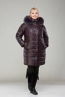 Пальто женское зимнее с мехом  М - 360, слива