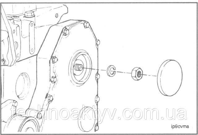 Ключ 30 мм  Снимите заглушку с отверстия для доступа на крышке шестерен.  Снимите гайку и шайбу с вала топливного насоса.