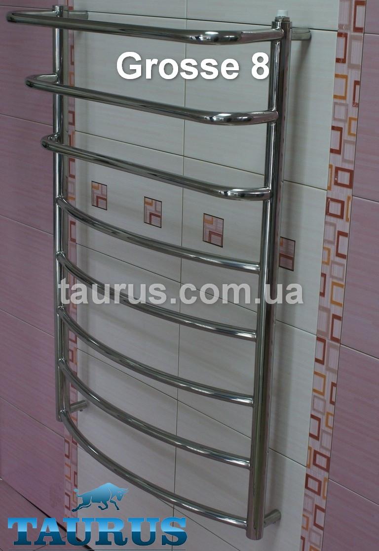 Очень узкая полотенцесушилка универсальная Grosse 8-3/850х400 с П-полочками вверху каскадом d20